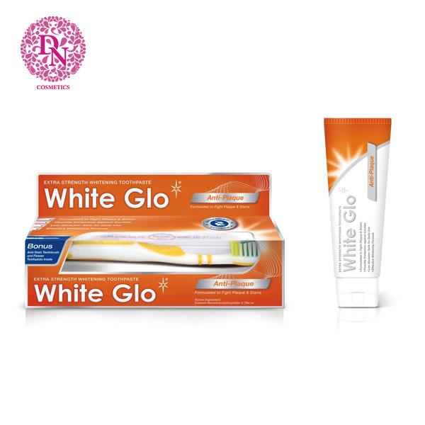 kem-danh-rang-kem-ban-chai-white-glo-anti-plaque-150g-mau-cam